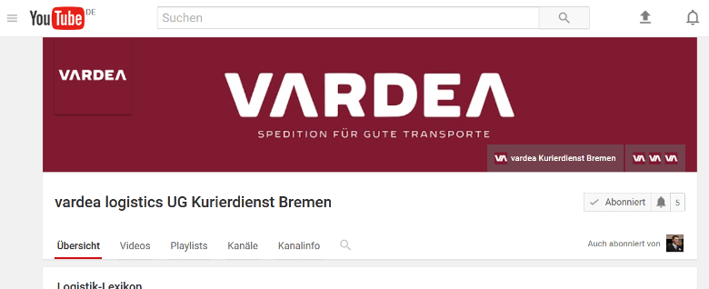 vardea logistics YouTube-Kanal